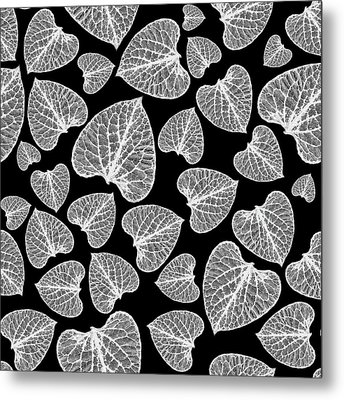 Black And White Leaf Abstract Metal Print