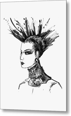 Metal Print featuring the digital art Black And White Punk Rock Girl by Marian Voicu