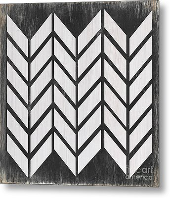 Metal Print featuring the painting Black And White Quilt by Debbie DeWitt
