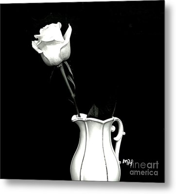 Metal Print featuring the photograph Black And White Rose Three by Marsha Heiken