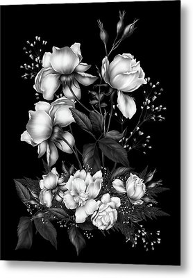 Black And White Roses On Black Metal Print