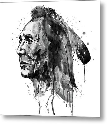 Metal Print featuring the mixed media Black And White Sioux Warrior Watercolor by Marian Voicu