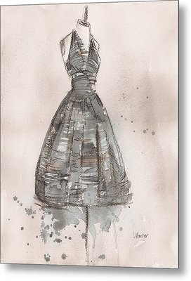Black And White Striped Dress Metal Print by Lauren Maurer
