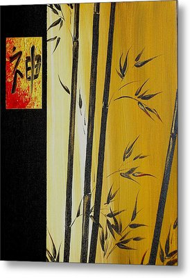 Metal Print featuring the painting Black Bamboo Zen  by Dina Dargo