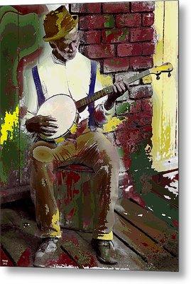 Black Banjo Man Metal Print