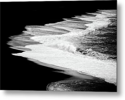 Metal Print featuring the photograph Black Beach And The Water Of The Ocean by Matthias Hauser