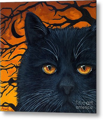 Black Cat And Moon Metal Print