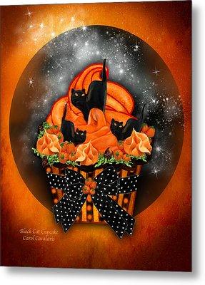 Black Cat Cupcake Metal Print by Carol Cavalaris