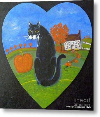 Black Cat On The Pumpkin Path Metal Print