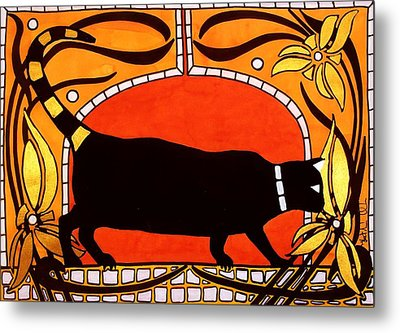 Metal Print featuring the painting Black Cat With Floral Motif Of Art Nouveau By Dora Hathazi Mendes by Dora Hathazi Mendes
