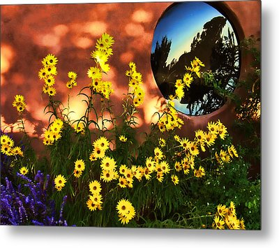 Metal Print featuring the photograph Black-eyed Susans And Adobe by Paul Cutright