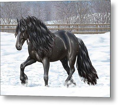Black Friesian Horse In Snow Metal Print