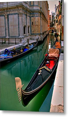 Black Gondola Metal Print by Peter Tellone