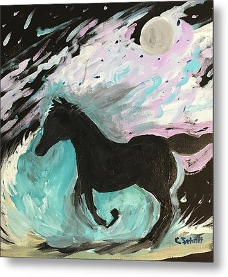Black Horse With Wave Metal Print