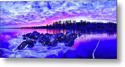 Black Ice At Twilight Metal Print