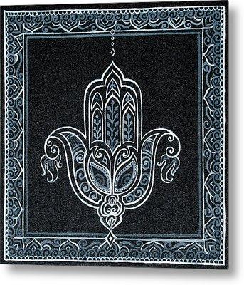 Black Khamsa Metal Print by Eleanor Hofer