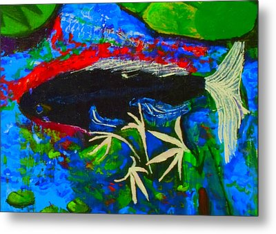 Metal Print featuring the painting Black Koi Closeup by Angela Annas