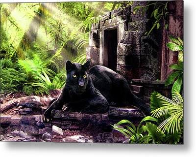 Black Panther Custodian Of Ancient Temple Ruins  Metal Print by Regina Femrite