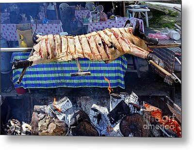 Metal Print featuring the photograph Black Pig Spit Roasted In Taiwan by Yali Shi