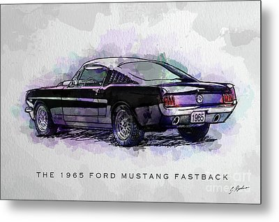 Black Stallion 1965 Ford Mustang Fastback Metal Print by Gary Bodnar