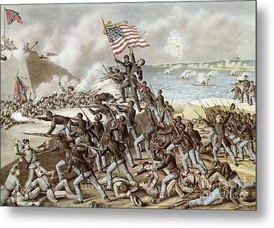 Black Troops Of The Fifty Fourth Massachusetts Regiment During The Assault Of Fort Wagner Metal Print by American School