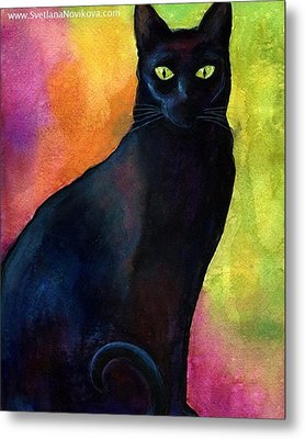 Black Watercolor Cat Painting By Metal Print