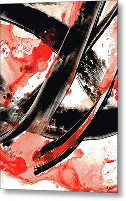 Metal Print featuring the painting Black White Red Art - Tango - Sharon Cummings by Sharon Cummings