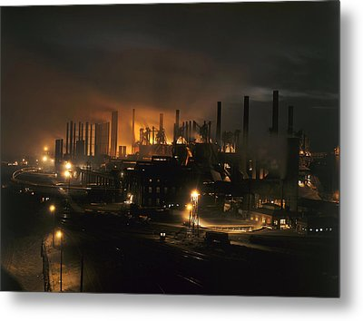 Blast Furnaces Of A Steel Mill Light Metal Print