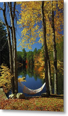 Bliss - New England Fall Landscape Hammock Metal Print by Jon Holiday