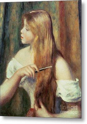 Blonde Girl Combing Her Hair Metal Print by Pierre Auguste Renoir
