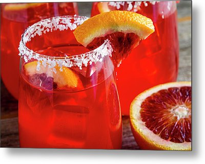 Metal Print featuring the photograph Blood Orange Margaritas On The Rocks by Teri Virbickis