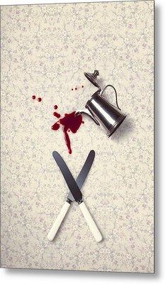 Bloody Dining Table Metal Print by Joana Kruse