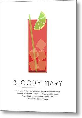 Bloody Mary Classic Cocktail - Minimalist Print Metal Print