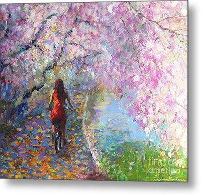 Blossom Alley Impressionistic Painting Metal Print by Svetlana Novikova