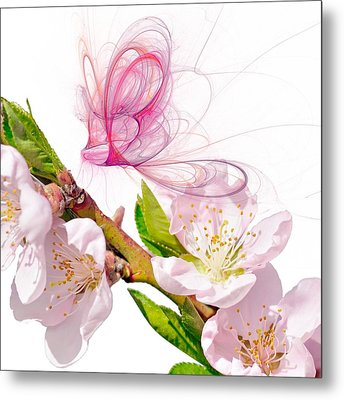 Blossom And Butterflies Metal Print by Sharon Lisa Clarke