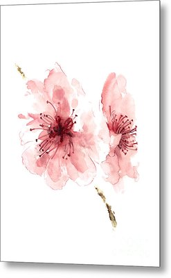 Cherry Blossom, Blossom Wall Art, Buy Art Online, Flower Blossom Watercolor Art Print Metal Print by Joanna Szmerdt