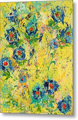 Metal Print featuring the painting Blossoming Blue by Chris Rice