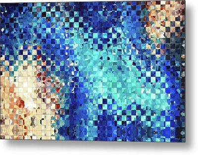Metal Print featuring the painting Blue Abstract Art - Pieces 2 - Sharon Cummings by Sharon Cummings