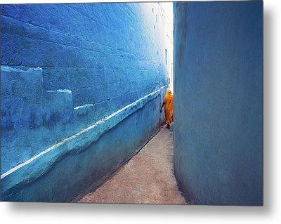 Blue Alleyway Metal Print by Marji Lang