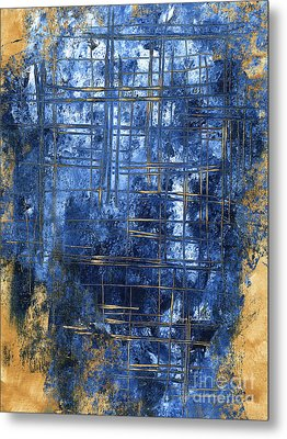 Blue And Gold A Stunning Dramatic Abstract Original Painting Contemporary Art By Megan Duncanson Metal Print