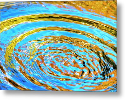 Blue And Gold Spiral Abstract Metal Print by Christina Rollo