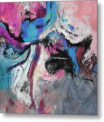 Metal Print featuring the painting Blue And Pink Abstract Painting by Ayse Deniz