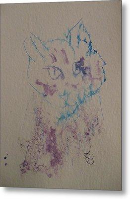 Blue And Purple Cat Metal Print