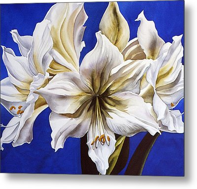 Blue And White Metal Print by Alfred Ng