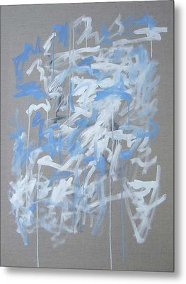 Blue And White Composition Metal Print by Michael Henderson