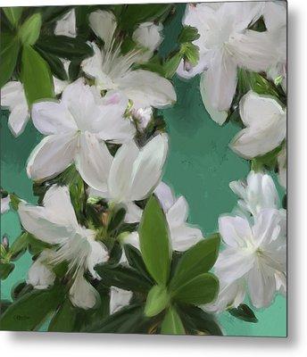 Blue And White Flower Art 2 Metal Print