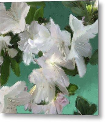 Blue And White Flower Art 3 Metal Print