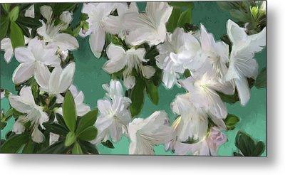 Blue And White Flower Art  Metal Print