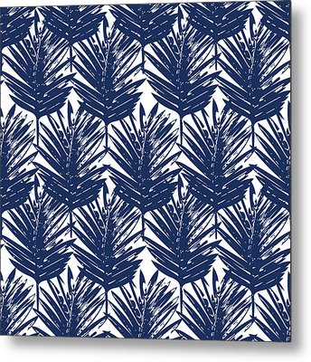 Blue And White  Palm Leaves 3 - Art By Linda Woods Metal Print