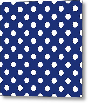Blue And White Polka Dots- Art By Linda Woods Metal Print by Linda Woods